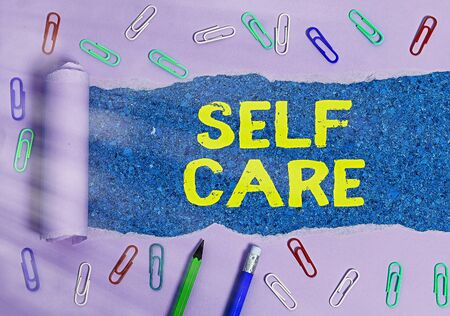 Word writing text Self Care. Business photo showcasing the practice of taking action to improve one s is own health