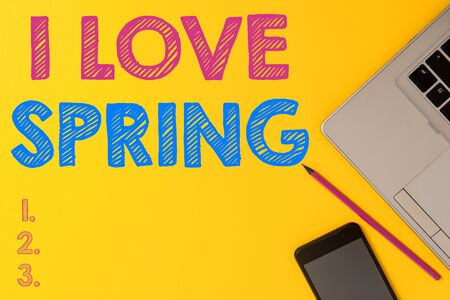 Handwriting text I Love Spring. Conceptual photo telling why having a strong affection to this season Slim trendy silver open laptop pencil marker smartphone colored background Stok Fotoğraf