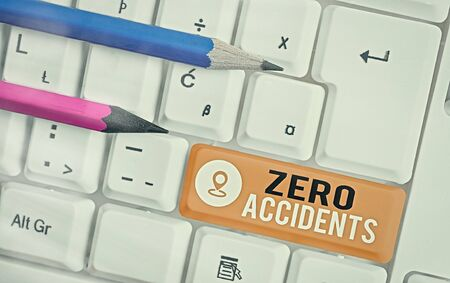 Word writing text Zero Accidents. Business photo showcasing important strategy for preventing workplace accidents Imagens