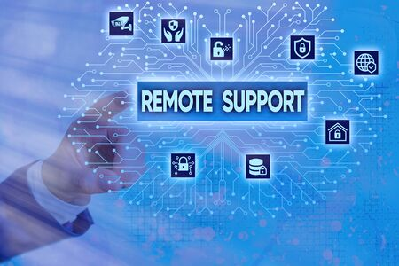 Writing note showing Remote Support. Business concept for type of secure service, which permits representatives to help