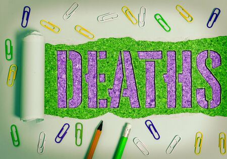 Conceptual hand writing showing Deaths. Concept meaning permanent cessation of all vital signs, instance of dying individual