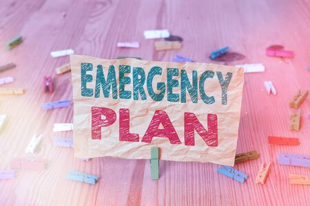 Conceptual hand writing showing Emergency Plan. Concept meaning instructions that outlines what workers should do in danger