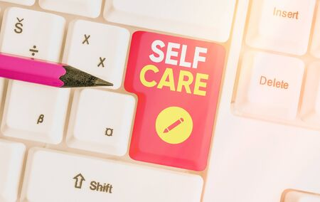 Text sign showing Self Care. Business photo text the practice of taking action to improve one s is own health