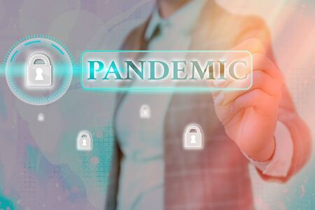 Conceptual hand writing showing Pandemic. Concept meaning occurring over a wide area affecting high proportion of population