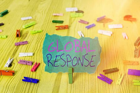 Word writing text Global Response. Business photo showcasing indicates the behaviour of material away from impact point