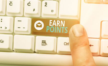 Conceptual hand writing showing Earn Points. Concept meaning getting praise or approval for something you have done Imagens