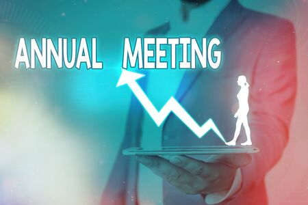Handwriting text Annual Meeting. Conceptual photo yearly meeting of the general membership of an organization Stock Photo
