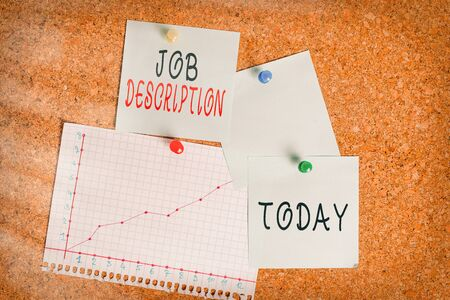 Word writing text Job Description. Business photo showcasing a formal account of an employee s is responsibilities Corkboard color size paper pin thumbtack tack sheet billboard notice board
