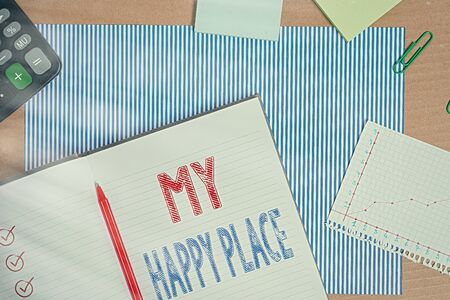 Text sign showing My Happy Place. Business photo text something nice has happened or they feel satisfied with life Striped paperboard notebook cardboard office study supplies chart paper