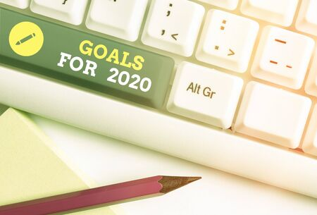 Word writing text Goals For 2020. Business photo showcasing object of an individuals ambition or effort aim or desired result