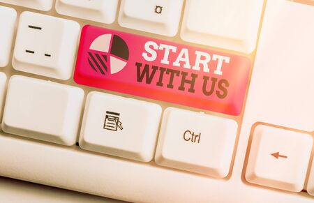 Writing note showing Start With Us. Business concept for inviting someone to work together for certain job or target Imagens