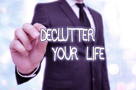 Word writing text Declutter Your Life. Business photo showcasing To eliminate extraneous things or information in life