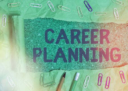 Handwriting text writing Career Planning. Conceptual photo Strategically plan your career goals and work success