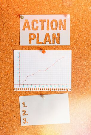 Text sign showing Action Plan. Business photo showcasing detailed plan outlining actions needed to reach goals or vision Corkboard color size paper pin thumbtack tack sheet billboard notice board