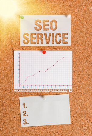 Text sign showing Seo Service. Business photo showcasing techniques and procedures to increase the website visibility Corkboard color size paper pin thumbtack tack sheet billboard notice board