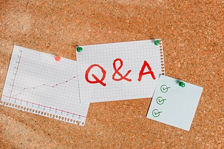 Writing note showing Q And A. Business concept for a period of time or an occasion when someone answers questions Corkboard size paper thumbtack sheet billboard notice board