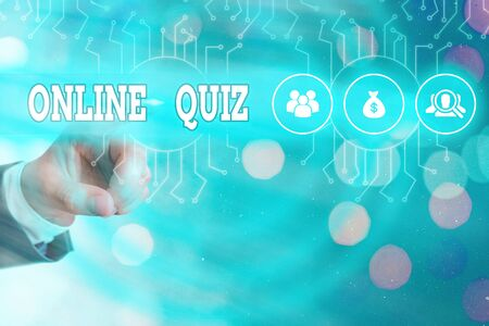 Writing note showing Online Quiz. Business concept for game or a mind sport that are published on the Internet Banco de Imagens
