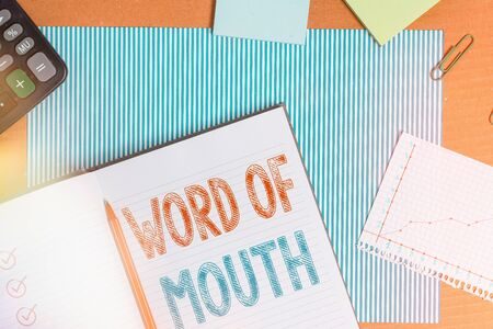 Text sign showing Word Of Mouth. Business photo text information that is transmitted without being written down Striped paperboard notebook cardboard office study supplies chart paper
