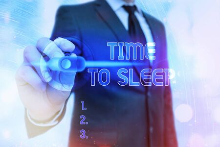 Writing note showing Time To Sleep. Business concept for a natural period of slumber or to be in state of inactivity