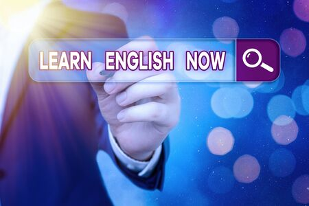 Word writing text Learn English Now. Business photo showcasing gain or acquire knowledge and skill of english language Banco de Imagens