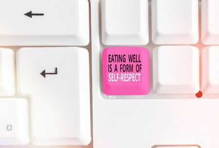 Word writing text Eating Well Is A Form Of Self Respect. Business photo showcasing a quote of promoting healthy lifestyle