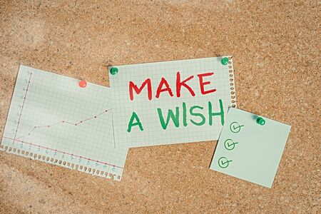 Writing note showing Make A Wish. Business concept for to desire a situation that is different from the one that exist Corkboard size paper thumbtack sheet billboard notice board