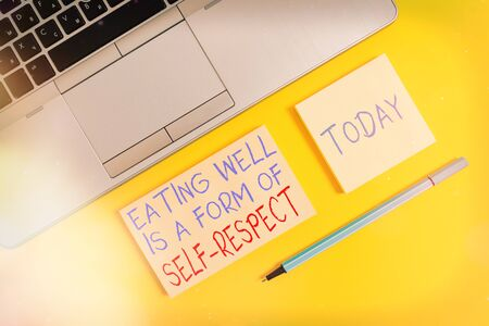 Text sign showing Eating Well Is A Form Of Self Respect. Business photo text a quote of promoting healthy lifestyle Trendy silver open laptop square sticky notepads marker colored background