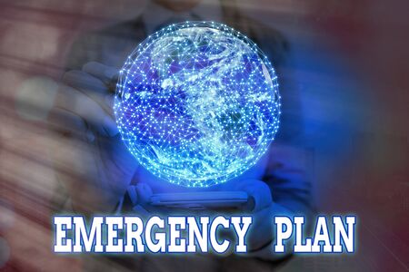 Handwriting text writing Emergency Plan. Conceptual photo procedures for handling sudden or unexpected situations