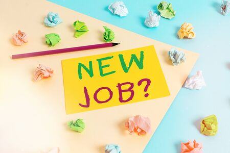 Handwriting text New Job Question. Conceptual photo asking if an individual got regular work to earn money Colored crumpled papers empty reminder blue yellow background clothespin