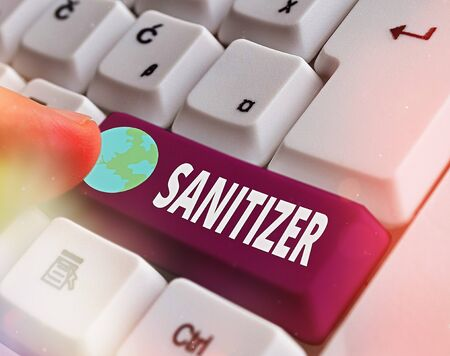 Conceptual hand writing showing Sanitizer. Concept meaning liquid or gel generally used to decrease infectious agents