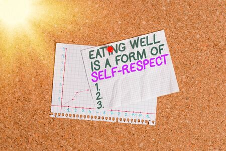 Conceptual hand writing showing Eating Well Is A Form Of Self Respect. Concept meaning a quote of promoting healthy lifestyle Corkboard size paper thumbtack sheet billboard notice board