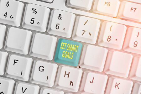 Handwriting text writing Set Smart Goals. Conceptual photo giving criteria to guide in the setting of objectives