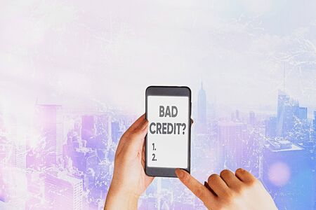Word writing text Bad Creditquestion. Business photo showcasing inabilityof an individual to repay a debt on time and in full