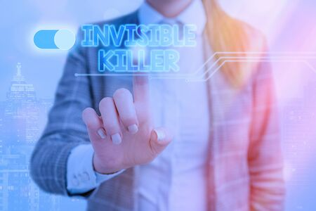 Word writing text Invisible Killer. Business photo showcasing presence into the air of a substance which are harmful