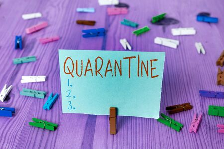 Writing note showing Quarantine. Business concept for restraint upon the activities of an individual or the transport of goods