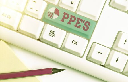 Writing note showing Ppes. Business concept for Specialized equipment for protection against health and safety hazard Imagens