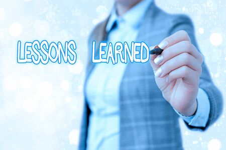 Word writing text Lessons Learned. Business photo showcasing the knowledge or understanding gained by experience