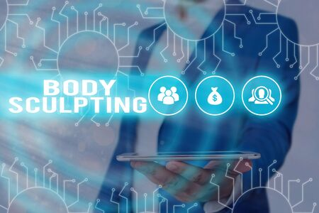 Text sign showing Body Sculpting. Business photo showcasing activity of increasing the body s is visible muscle tone 版權商用圖片