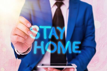 Word writing text Stay Home. Business photo showcasing not go out for an activity and stay inside the house or home