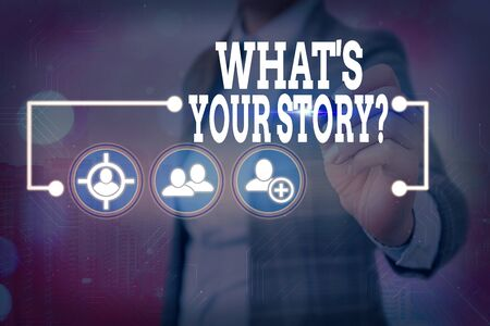 Text sign showing What S Is Your Storyquestion. Business photo showcasing manner of asking an individual about past life events
