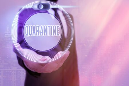 Text sign showing Quarantine. Business photo text restraint upon the activities of an individual or the transport of goods