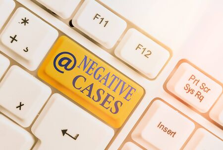 Text sign showing Negative Cases. Business photo text circumstances or conditions that are confirmed to be false