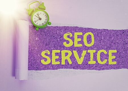 Writing note showing Seo Service. Business concept for techniques and procedures to increase the website visibility Stok Fotoğraf