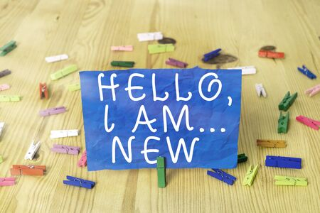 Writing note showing Hello I Am New. Business concept for used greeting or begin telephone conversation Фото со стока