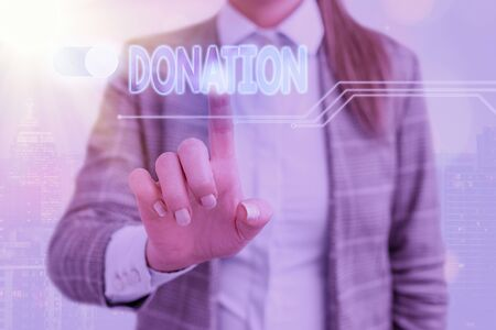Word writing text Donation. Business photo showcasing something that is given to a charity, especially a sum of money Stockfoto