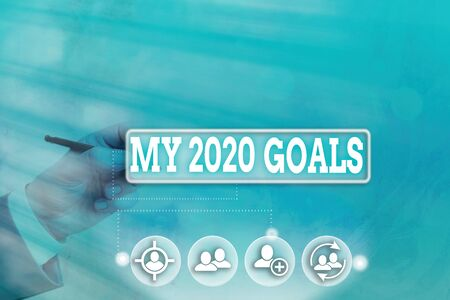 Conceptual hand writing showing My 2020 Goals. Concept meaning setting up an individualal goals or plans for the current year Banque d'images