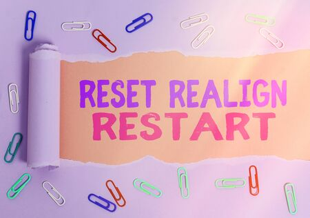 Conceptual hand writing showing Reset Realign Restart. Concept meaning Life audit will help you put things in perspectives