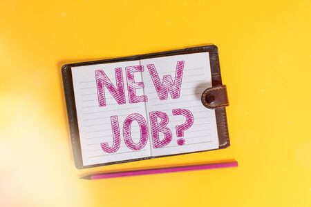 Text sign showing New Job Question. Business photo text asking if an individual got regular work to earn money Dark leather private locked diary striped sheets marker colored background Banque d'images