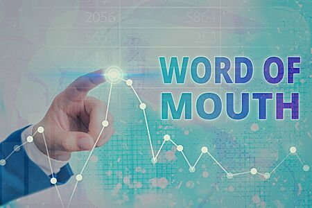 Conceptual hand writing showing Word Of Mouth. Concept meaning information that is transmitted without being written down 免版税图像