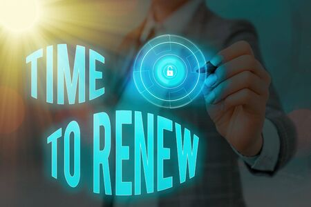 Word writing text Time To Renew. Business photo showcasing extending the period of time when something is valid